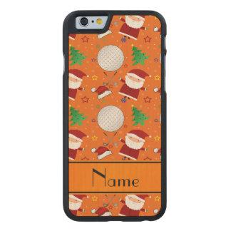 Personalized name orange christmas golfing carved® maple iPhone 6 case