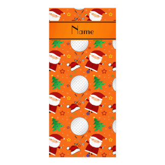 Personalized name orange christmas golfing rack cards