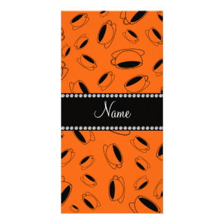 Personalized name orange coffee cup customized photo card