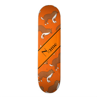 Personalized name orange collie dog pattern skate boards