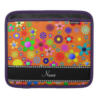 Personalized name orange colorful retro flowers sleeves for iPads