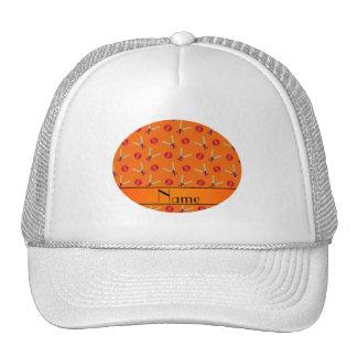 Personalized name orange cricket pattern cap