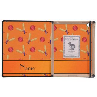 Personalized name orange cricket pattern iPad case