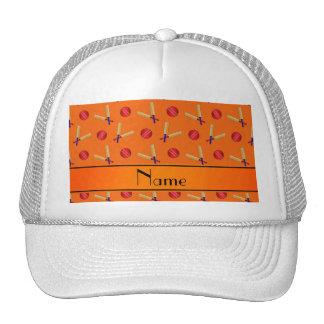 Personalized name orange cricket pattern mesh hats