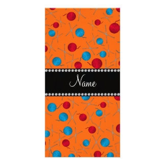 Personalized name orange crochet pattern picture card