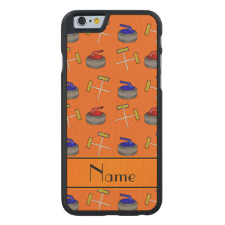Personalized name orange curling pattern carved® maple iPhone 6 case