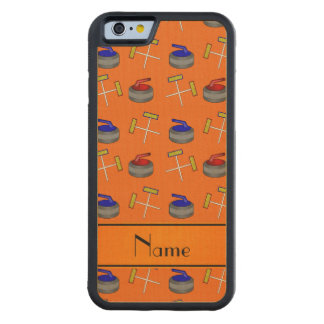 Personalized name orange curling pattern carved® maple iPhone 6 bumper case