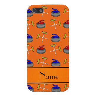 Personalized name orange curling pattern iPhone 5 cases