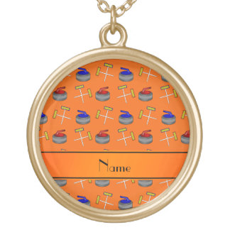 Personalized name orange curling pattern necklace