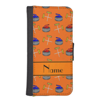 Personalized name orange curling pattern iPhone 5 wallet cases