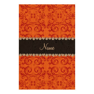 Personalized name orange damask swirls cork paper prints