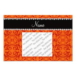 Personalized name orange damask swirls photo