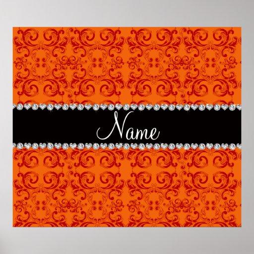 Personalized name orange damask swirls posters