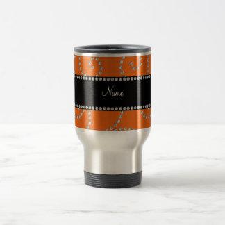 Personalized name orange diamond swirls mugs