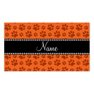 Personalized name orange dog paw print business card template