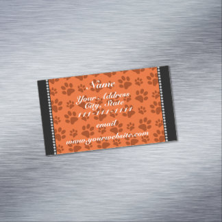 Personalized name orange dog paw print magnetic business cards