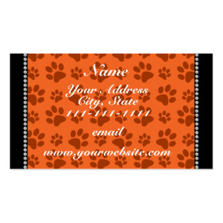 Personalized name orange dog paw print pack of standard business cards