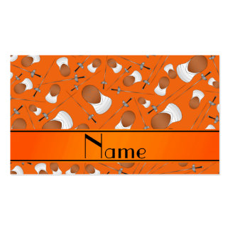 Personalized name orange fencing pattern pack of standard business cards