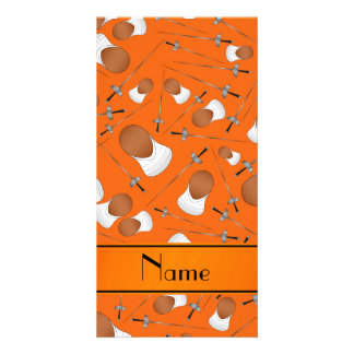 Personalized name orange fencing pattern photo greeting card