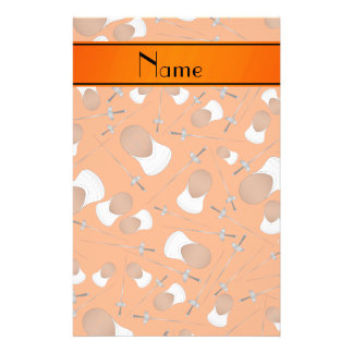 Personalized name orange fencing pattern stationery