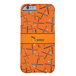 Personalized name orange field hockey pattern barely there iPhone 6 case