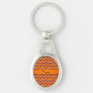 Personalized name orange firetrucks key chain