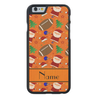 Personalized name orange football christmas carved® maple iPhone 6 slim case