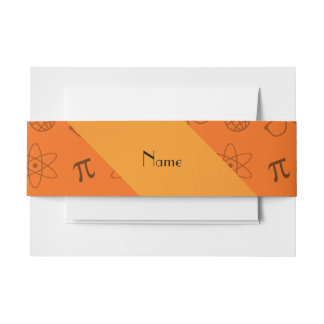 Personalized name orange geek pattern invitation belly band
