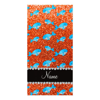 Personalized name orange glitter blue whales personalized photo card