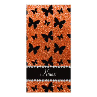 Personalized name orange glitter butterflies photo card template