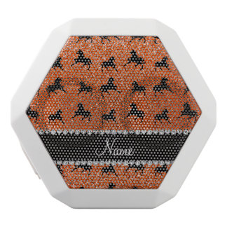 Personalized name orange glitter horses white boombot rex bluetooth speaker