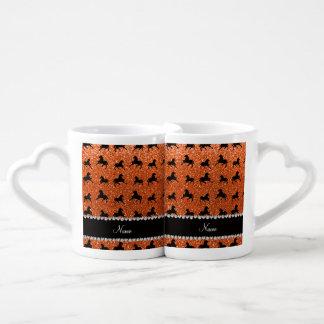 Personalized name orange glitter horses lovers mug