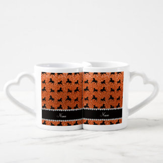 Personalized name orange glitter horses lovers mug sets