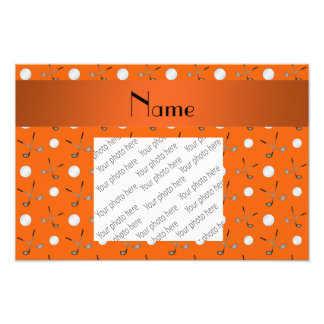 Personalized name orange golf balls art photo