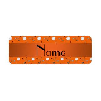 Personalized name orange golf balls return address label