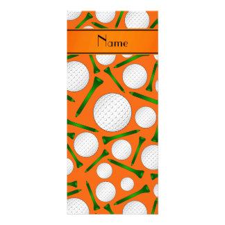 Personalized name orange golf balls tees full color rack card