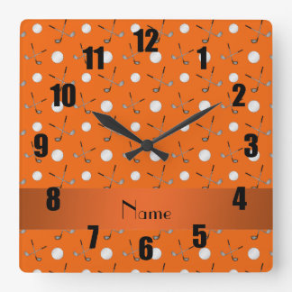 Personalized name orange golf balls wallclocks
