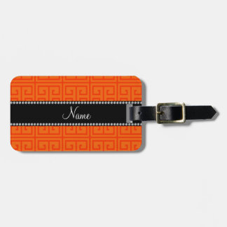Personalized name orange greek key pattern luggage tag