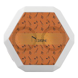 Personalized name orange guitar pattern white boombot rex bluetooth speaker