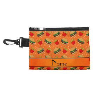 Personalized name orange hamburgers fries dots accessories bags