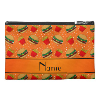 Personalized name orange hamburgers fries dots travel accessory bags