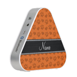 Personalized name orange hearts and paw prints