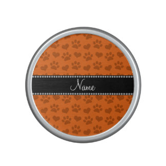 Personalized name orange hearts and paw prints bluetooth speaker