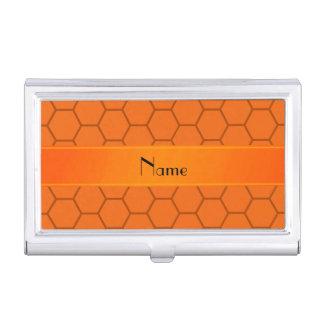 Personalized name orange honeycomb business card holder