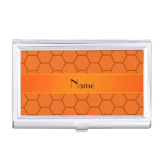 Personalized name orange honeycomb case for business cards
