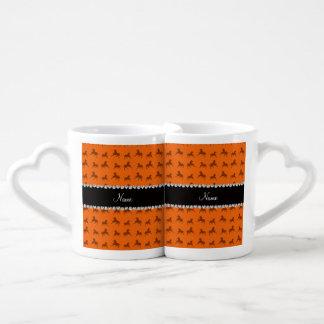 Personalized name orange horse pattern lovers mug