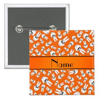 Personalized name orange karate pattern pinback button