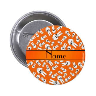 Personalized name orange karate pattern buttons
