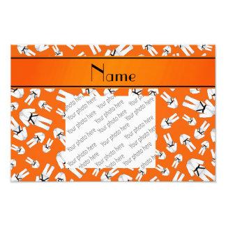 Personalized name orange karate pattern photo art