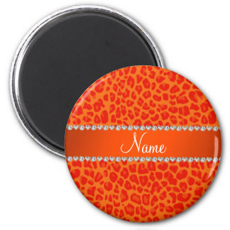 Personalized name orange leopard pattern magnets